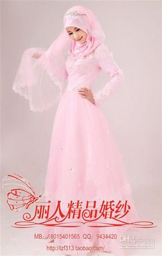 Wholesale Muslim Brides Wedding Dress Islamic Gown Pink High Neck Floor Organza Aliqued Long Sleeves Online, Free shipping, $151.2-168.0/Piece | DHgate