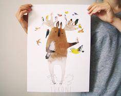 Friend of birds Forest spirit Digital print by TukoniTribe on Etsy