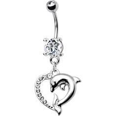 Clear Cubic Zirconia Heart Dolphin Belly Ring