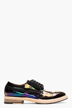 Acne Studios Black Iridescent Patent Oil Slick Derbys for men | SSENSE