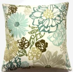 Decorative Pillow Cover Teal Mint Green Olive by LynnesThisandThat