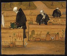 The Garden of Death. The Garden of Death (watercolor and gouache) by Hugo Simberg. Death and the Afterlife by Cliff Pickover Memento Mori, Art And Illustration, Memes Arte, Classical Art Memes, Video Streaming, Danse Macabre, Ouvrages D'art, Dark Art, Oeuvre D'art