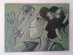 Marts 2015 maleri akryl dame grøn med sommerfugle
