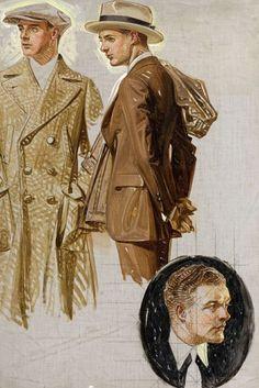 Two Well Dressed Men, Ad Illustration Sketch - J.C. Leyendecker