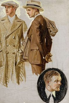 Two Well Dressed Men, Ad Illustration Sketch - J.C. Leyendecker