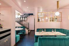 Inside North Audley Cantine Luxury Restaurant in London Luxury Restaurant, Cafe Restaurant, Restaurant Design, Restaurant Interiors, Cafe Design, Interior Design, Interior Shop, Underground Bar, London Decor