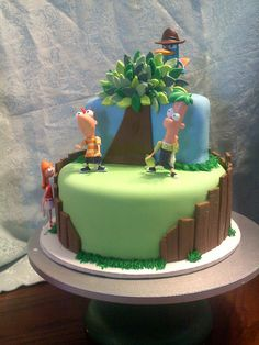 Phineas and Ferb Cake Edible Creations, Cake Creations, Cake Decorating Supplies, Cookie Decorating, Cupcake Cookies, Cupcakes, Phineas Und Ferb, Movie Cakes, Crazy Cakes