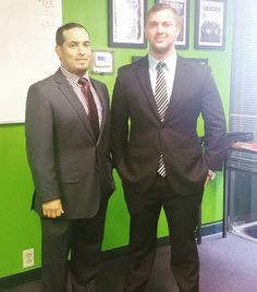 Team Lead Jesse and newly promoted Corporate Trainer David showing off #businessprofessionalattire! Half of #marketing and #sales is about presentation and image! Looking sharp guys!