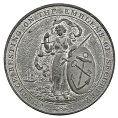 (William Mather), Token, 1797, in white metal (tin), by Kempson, Justice supporting a shield emblazoned with anchor and key, rev.… / MAD on Collections - Browse and find over 10,000 categories of collectables from around the world - antiques, stamps, coins, memorabilia, art, bottles, jewellery, furniture, medals, toys and more at madoncollections.com. Free to view - Free to Register - Visit today. #Coins #Tokens #MADonCollections #MADonC