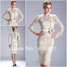 Champagne/Ivory Long Sleeved Knee Length Lace Evening Dress Mother of the Bride Dresses $145.00-WITHOUT THE BIG FLOWER