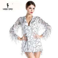 Free Shipping Missord 2017 Sexy deep v-sleeved sequined  rompers playsuits FT2800