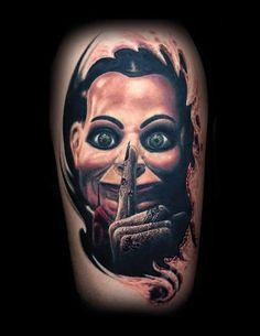 olio: Horror Tattoo by Nick from Tat-Fu Tattoo - Flagstaff, AZ. Find a local tattoo shop near you in our Tattoo Artist and Studio Directory Horror Movie Tattoos, Horror Movies, Tattoo You, Tattoo Images, Tattoo Artists, Cool Tattoos, Tatting, Horror Films, Bobbin Lace