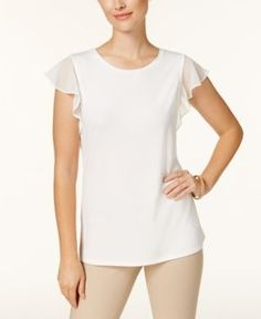 Charter Club Flutter-Sleeve Top, Created for Macy's - White XXL