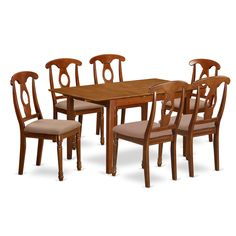 PSNA7-SBR Dinette Table with Leaf and 6 Kitchen Chairs