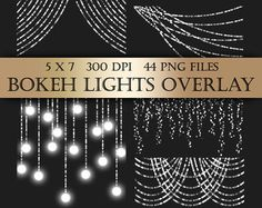 Bokeh String Lights, Digital Clipart Overlay - silver bunting fairy lights christmas transparent backgrounds scrapbooking invitations
