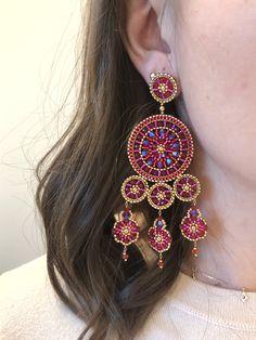 in den Farbtönen Gold, Pink und Orang Den, Drop Earrings, Orange, Gold, Accessories, Jewelry, Fashion, Stud Earrings, Moda