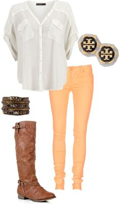White Button Up Shirt + Peach Skinny Jeans + Tan Riding Boots + Tory Burch Stud Earrings + Bangles
