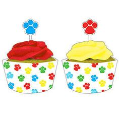 These Paw-ty Time Cupcake Wrappers and Picks features white cupcake wrappers with red, yellow, blue and green paw prints with matching picks.