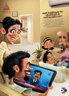 Print advertisement created by Stark, India for Asianet News, within the category: Media. Ads Creative, Creative Advertising, Creative Director, Ad Of The World, Two Decades, Photoshop Effects, Photo Illustration, Illustrations, Ad Design