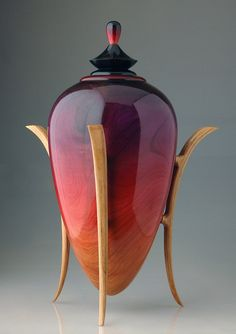 100 of the World's Most Beautiful Wood Cremation Urns: Amarinth Crimson Vessel Lathe Projects, Wood Turning Projects, Wood Projects, Cremation Urns, Wood Lathe, Wooden Bowls, Wood Boxes, Wood Sculpture, Wood Design