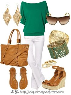Casual green and white outfit with brown and gold accessories. Perfect for a lunch or dinner outside in warmer weather.