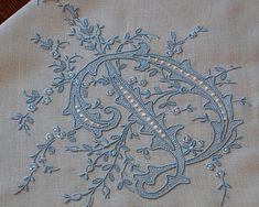 Em's Heart Antique Linens -Monogrammed Vintage Madeira Embroidered Hanky
