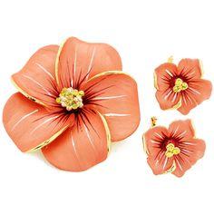 Peach Hawaiian Plumeria With Swarovski Crystal Flower Pin Brooch And Earrings Gift Set