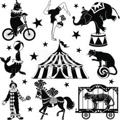 Vector illustrations of circus characters: bear riding a bicycle, acrobat, elephant standing on one foot, seal balancing Circus Acrobat, Circus Art, Circus Theme, Circus Tents, Circus Illustration, Circus Characters, Circo Vintage, Silhouette Clip Art, Clowns