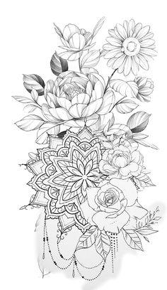 Hip Thigh Tattoos, Hip Tattoos Women, Dope Tattoos, Girly Tattoos, Pretty Tattoos, Mini Tattoos, Beautiful Tattoos, Mandala Hip Tattoo, Mandala Flower Tattoos