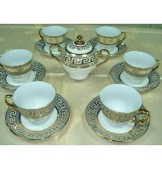 Versace style Coffee, Tea Set- 13 pieces,  Fine Porcelain for 6 persons      Items on the picture is what you receive.      ALL THIS COMES IN SPECIAL LUXURY BOX!!!