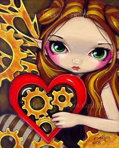A Clockwork Valentine steampunk heart fairy art print by Jasmine Becket-Griffith 8x10