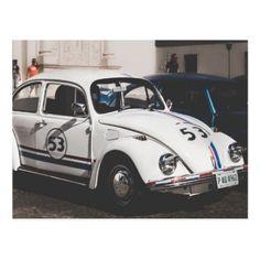 Vintage Herbie VW Beetle car automobile postcard - postcard post card postcards unique diy cyo customize personalize