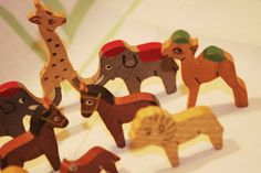 10 1960s Vintage Tiny Wooden Toy Animals Hand by soldiersuzanne, $15.00