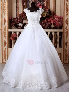 Tidebuy.com Offers High Quality Scoop Appliques Beading Floor Length Ball Gown Wedding Dress, We have more styles for Wedding Dresses 2016