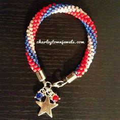 Red White and Blue with CHART for bead placement