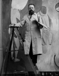 """Henri Matisse painting """"Bathers by a River,"""" 1913.    Photo by Alvin Langdon Coburn"""
