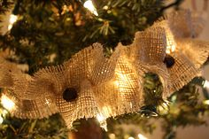 Rustic, homey and warm. Jingle Bell Burlap Garland.