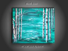 """40"""" x 30"""" x 1.5"""" Original Painting Canvas Modern Wall Art Birch Trees in Turquoise Water Abstract Contemporary Palette Knife."""