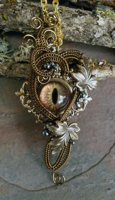 Gothic Steampunk Botanical Evil Eye Pendant with Leaves
