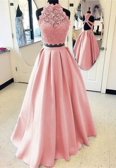 Elegant A-line High Neck Open Back Satin Prom Dresses Two Piece Evening Gowns 2018
