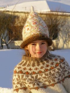 Ravelry: Flowers pattern by Harpa Jónsdóttir Beautiful - a girl named Winter :) Knit Crochet, Crochet Hats, Icelandic Sweaters, Embroidered Hats, Thinking Day, Fair Isle Knitting, We Are The World, Knitting For Kids, Bandanas