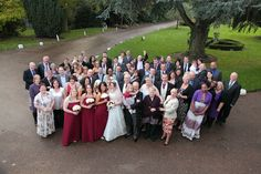 Group wedding photo taken from above
