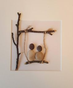 Crafts With Twigs Handmade pebble art LOVE SWING box frame picture. Any personalised wording can be added, simply state on ordering. Pebbles and twigs are all natural therefore small variations my occur on each picture. Twig Crafts, Driftwood Crafts, Stone Crafts, Rock Crafts, Nature Crafts, Diy Home Crafts, Arts And Crafts, Twig Art, Pebble Art Family