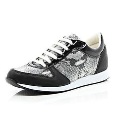 Black snake print lace up trainers $64.00