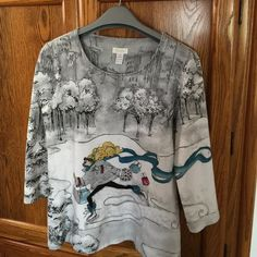 💥FINAL💥Jeweled Top Barely worn! Chico's graphic artsy girl bejeweled scoop neck top. Perfect for fun times-shopping or out with girlfriends! Chico's Tops