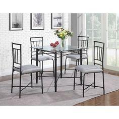 5-Piece Delphine Glass Top Metal Dining Set, Black
