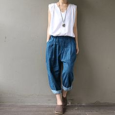 jeans  / wide leg printing pants / loose Trousers    von Aolo, $56.30