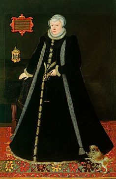 Margaret Douglas' Spanish farthingale silhouette is comparable to that of Francis Audley and Queen Elizabeth in 1569-1570. She wears a long scarf and appears to be wearing a fur-trimmed cloak.