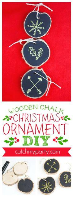 Wooden Chalk Christmas Ornament Diy Kidscrafts Christmascraft Kidsactivity Catch My Party