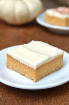 Skinny Pumpkin Cheesecake Bars - since I'm going through my pumpkin phase!